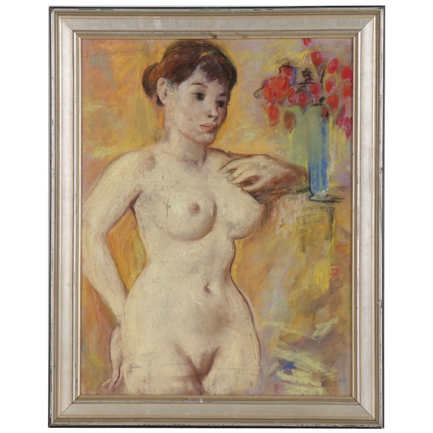 Pastel Drawing of Nude Figure with Flowers, 1947