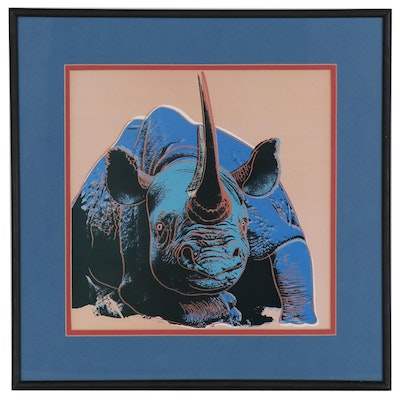 "Offset Lithograph after Andy Warhol ""Endangered Species: Black Rhinoceros"""