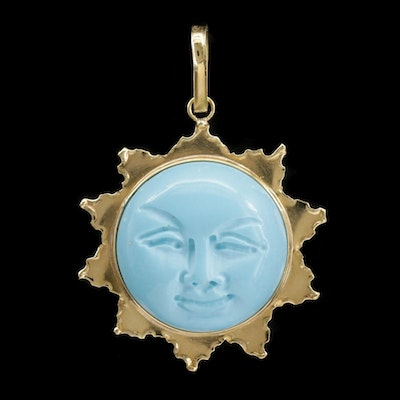 18K Yellow Gold Turquoise Carved Sun Pendant