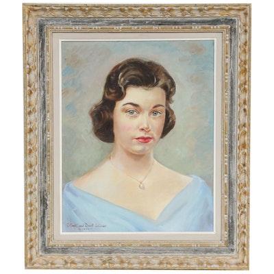 Elliott and David Skinner Female Portrait Oil Painting, 1958