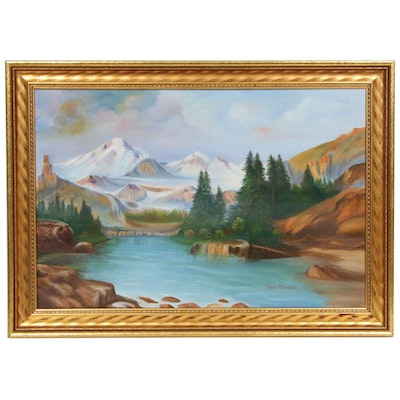 Rosa Miller Mountain Lake Landscape Oil Painting, Mid to Late 20th Century