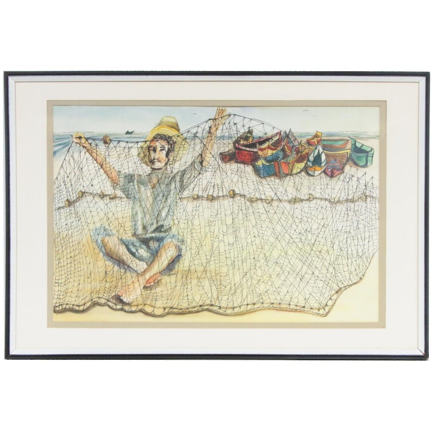 Watercolor Painting of Fisherman with Net, Mid-Late 20th Century