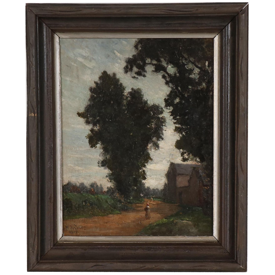 William B. Rowe Oil Painting of Landscape, 1917