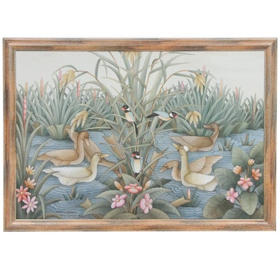 Balinese Oil Painting of Pond Scene with Waterfowl