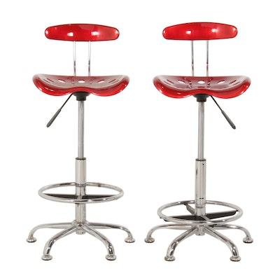 Industrial Style Red Fiberglass and Chrome Barstools, Pair