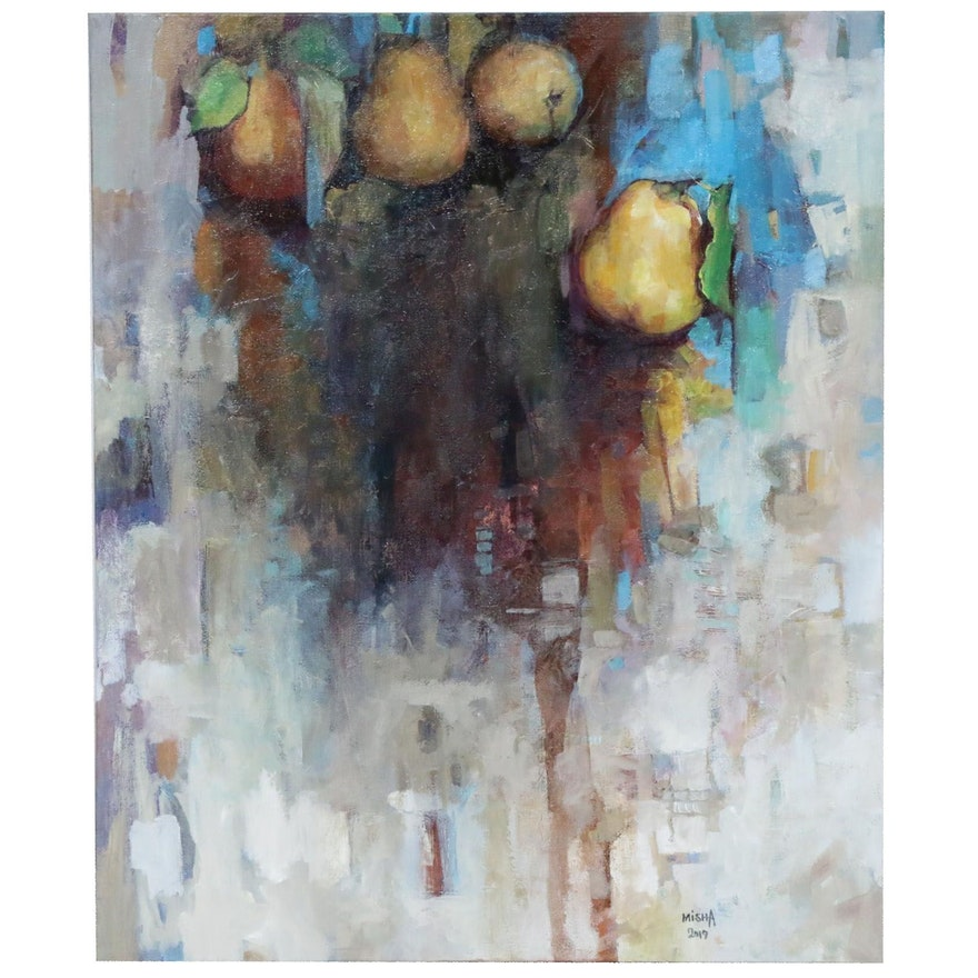 Alexandra Zecevic Abstract Acrylic Painting of Pears, 2019
