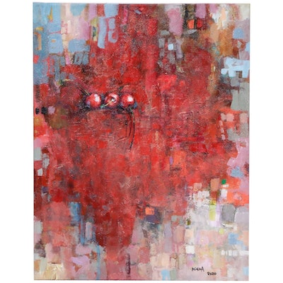 Alexandra Zecevic Abstract Acrylic Painting of Cherries, 2020