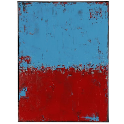 "Sanna Abstract Acrylic Painting ""Red and Blue"""