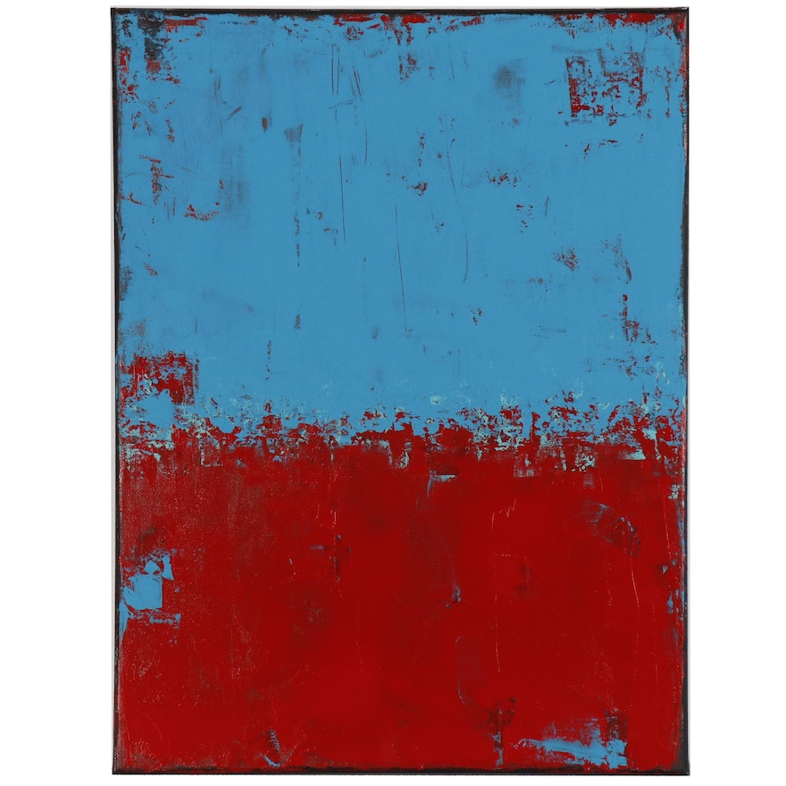 """Sanna Abstract Acrylic Painting """"Red and Blue"""""""