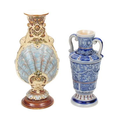 Villeroy & Boch and Westerwald Vases, Late 19th/Early 20th C.