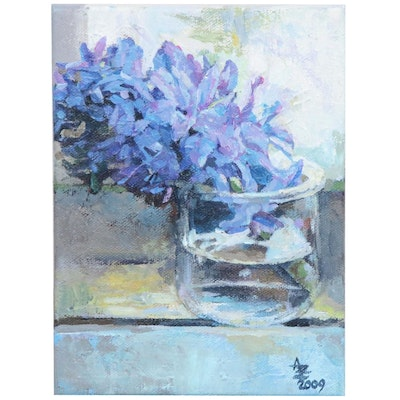"Alexandra Zecevic Acrylic Painting ""Hyacinth on the Window,"" 2019"