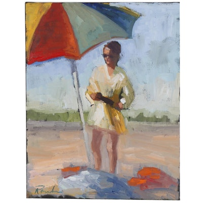 Sally Rosenbaum Oil Painting of Woman at Beach