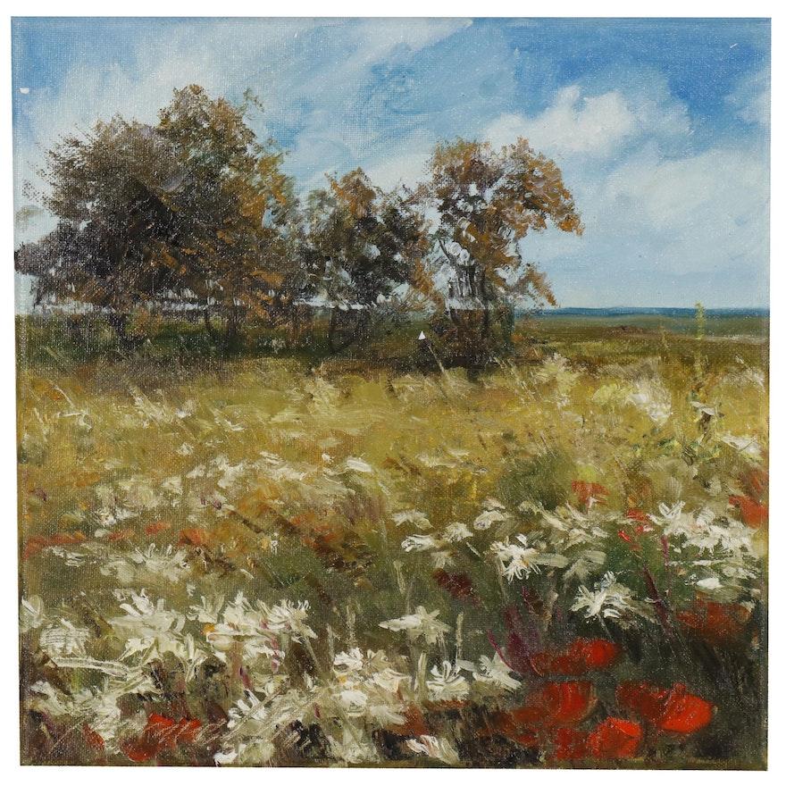 Garncarek Aleksander Landscape Oil Painting of Flowering Meadow