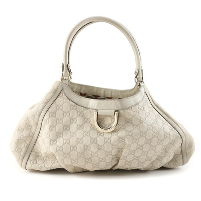 Gucci Abbey D-Ring Shoulder Bag in Ivory Guccissima Leather