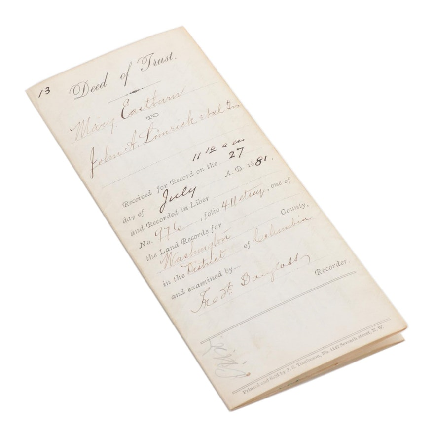 Land Indenture Document Signed by Frederick Douglass, 1881