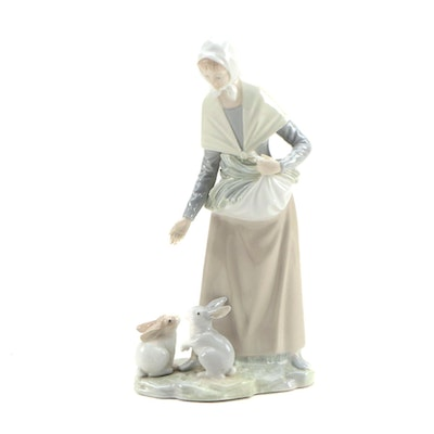 NAO by Lladró Porcelain Figurine of Woman with Rabbits