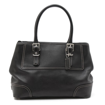 Coach Hampton Contrast Stitched Black Leather Satchel Handbag