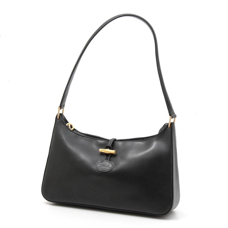 Longchamp Paris Black Leather Roseau Gold Tone Bamboo Toggle Handbag