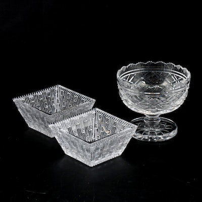 "Tiffany & Co. ""Woven"" Square Bowls and Waterford Crystal Compote"