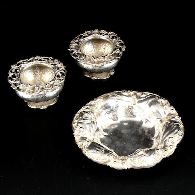 "Whiting Sterling ""Hibiscus"" Bowl and Wattles & Sons Sterling Salt Cellars"