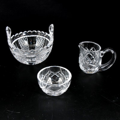 Waterford Crystal Creamer, Sugar Bowl and Butter Tub