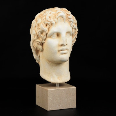 Alexander the Great Ceramic Bust on Granite Base