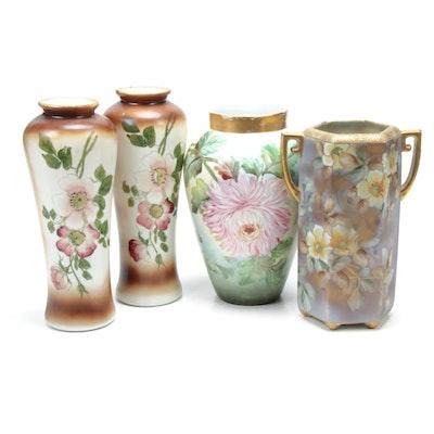 Bernardaud & Co. Chrysanthemum and Wild Rose Vases Including Noritake
