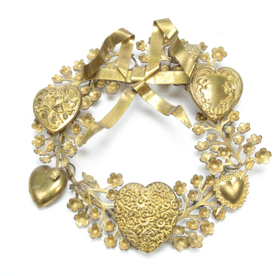 """Petite Choses Brass Valentine's """"Forget Me Not"""" Wreath with Hearts"""