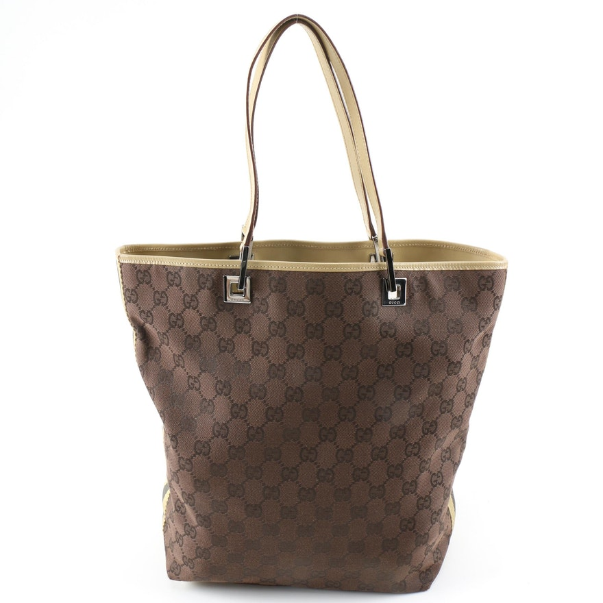 Gucci Tote Bag in Web Stripe Brown GG Canvas and Leather