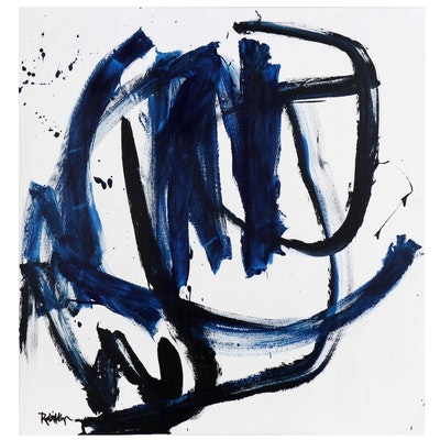 "Robbie Kemper Abstract Acrylic Painting ""Big Blue Black Curves"""