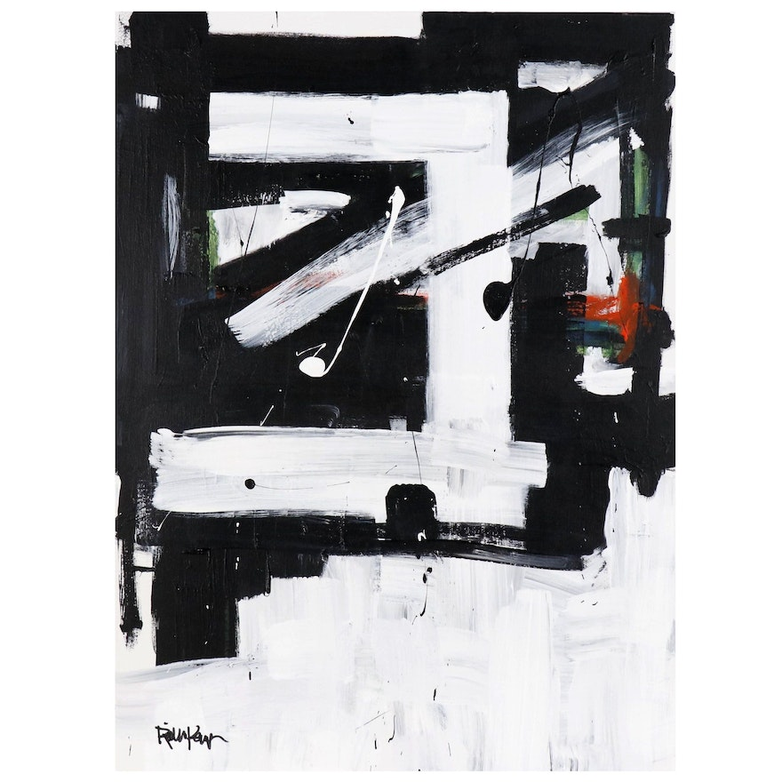 """Robbie Kemper Acrylic Painting """"White Angle with Color Bits"""""""