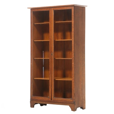 Oak Bookcase Cabinet, Early 20th Century