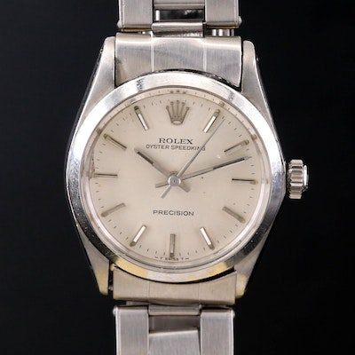 Vintage Rolex Oyster Speed King Stainless Steel Stem Wind Wristwatch, 1966
