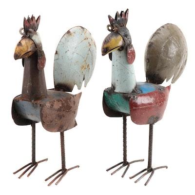 Mexican Folk Art Scrap Metal Rooster Sculptures