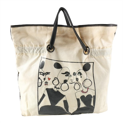 Lanvin Paris Alber Elbaz Drawstring Shopper Tote in Waxed Canvas and Leather