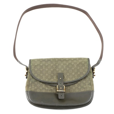 Louis Vuitton Mini Lin Berangere Crossbody in Olive Canvas and Black Leather