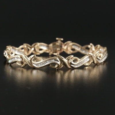 10K Yellow Gold 1.00 CTW Diamond Infinity Link Bracelet
