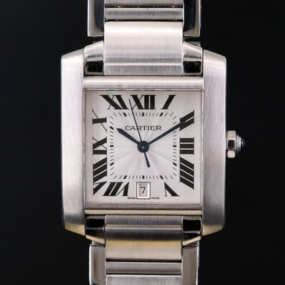 Cartier Tank Française Automatic Stainless Steel Wristwatch