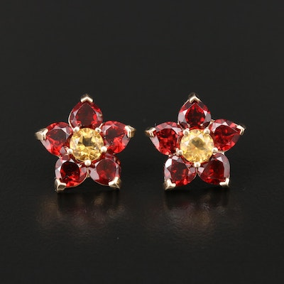 14K Yellow Gold Citrine and Garnet Floral Stud Earrings