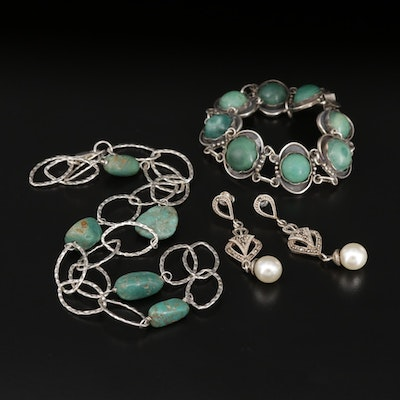 Sterling Assorted Jewelry with Turquoise, Amazonite, Marcasite and More