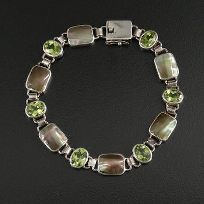 Sterling Silver Bezel Link Bracelet