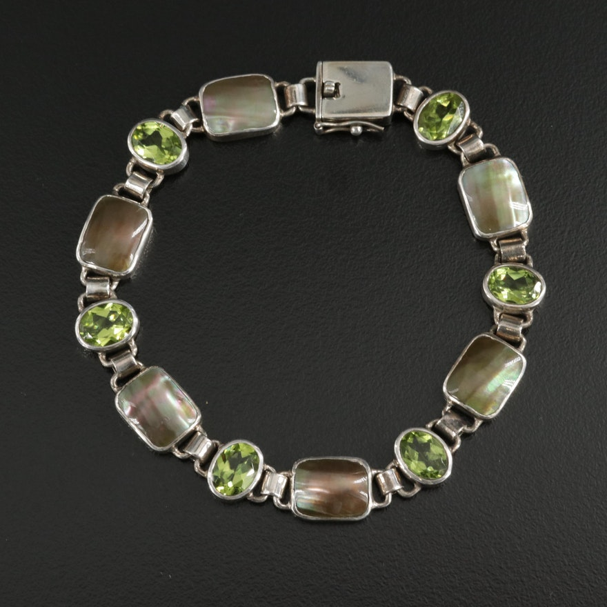 Sterling Silver Peridot and Mother of Pearl Bezel Link Bracelet