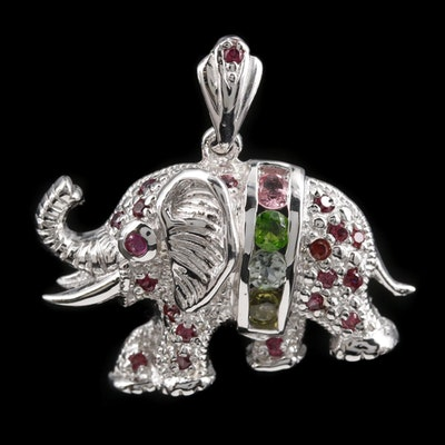 Sterling Silver Garnet, Diopside, and Peridot Lucky Elephant Pendant