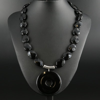 Sterling Silver Black Onyx Adjustable Necklace