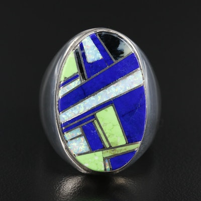 Southwestern Style Sterling Lapis Lazuli, Opal and Gaspeite Inlay Ring