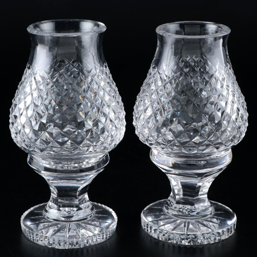 """Pair of Waterford Crystal """"Alana"""" Candle Holders with Hurricane Shades"""