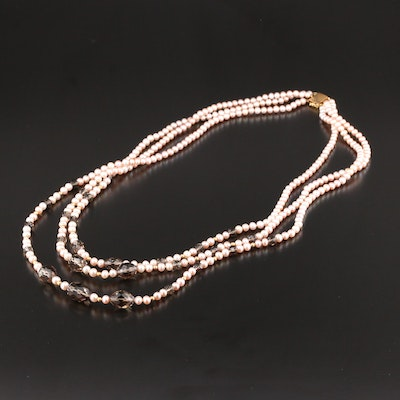 Cultured Pearl and Smoky Quartz Triple Strand Necklace with 14K Clasp