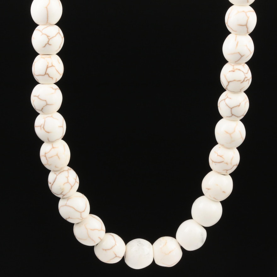 Beaded Howlite Necklace with 14K Yellow Gold Clasp