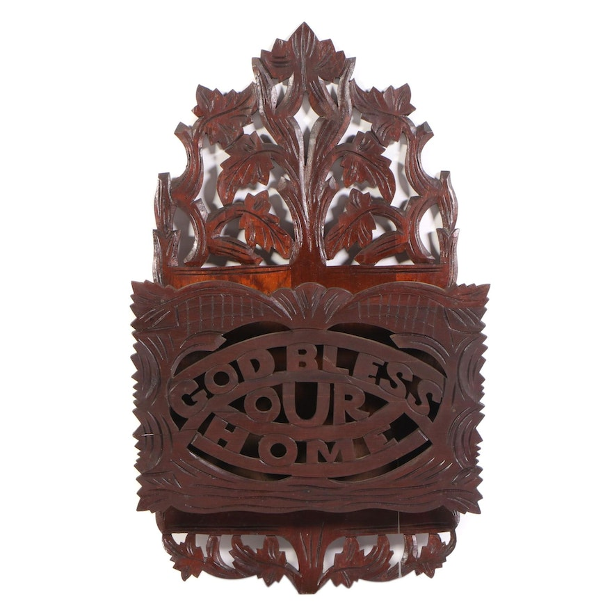 Victorian Carved Walnut Wall Pocket, Late 19th Century