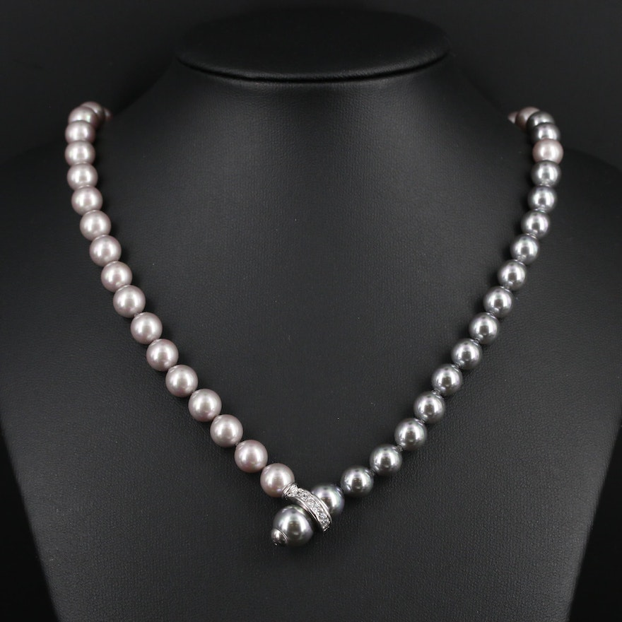 Strand of Majorica Pearls with Cubic Zirconia Accented Clasp